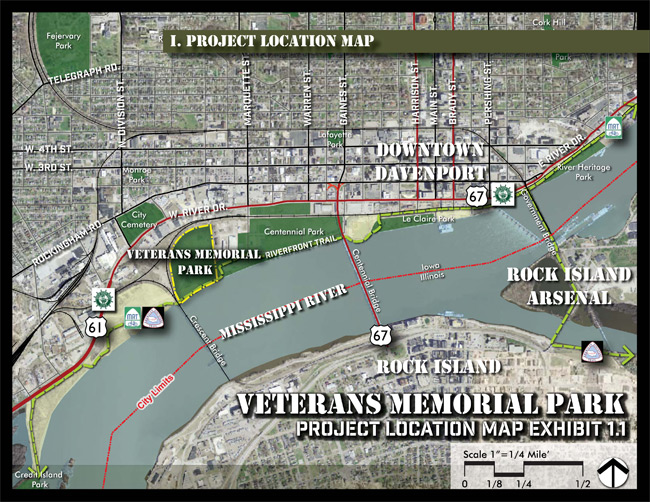 Overview of a map of Davenport showing the location of Veterans Memorial Park