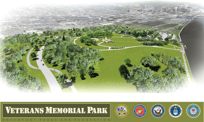 Graphic showing the plan for Veterans Memorial Park